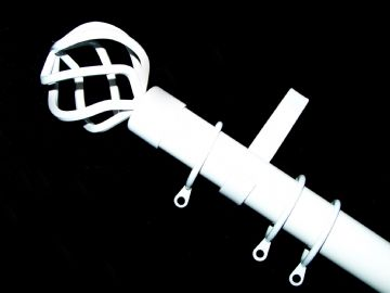 28mm Gloss White Curtain Pole System with Cage Ball Finials 1.2m 1.5m 2.4m 3m